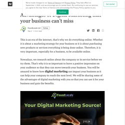 Advantages of Digital Marketing that your business can't miss