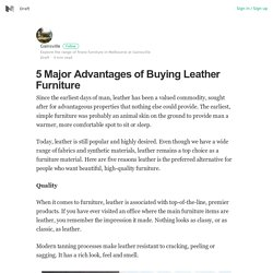 Major Advantages of Buying Leather Furniture