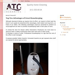 Top Ten Advantages of Great Housekeeping