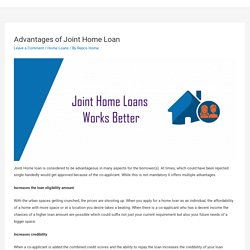 Advantages of Joint Home Loan – Repco Home