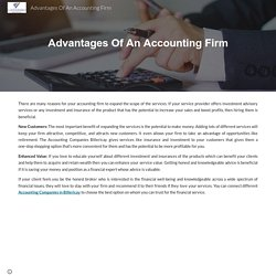Advantages Of An Accounting Firm