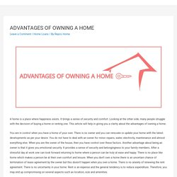 ADVANTAGES OF OWNING A HOME – Repco Home
