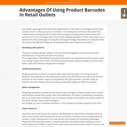 Advantages Of Using Product Barcodes In Retail Outlets