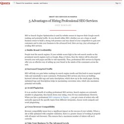 5 Advantages of Hiring Professional SEO Services - Smart SEO Services in Nigeria - Quora
