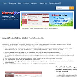 The advantages of MarvelSoft SchoolAdmin Student module