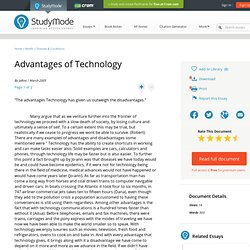 Advantages of Technology - Research Papers - Jaboo