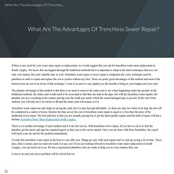 What Are The Advantages Of Trenchless Sewer Repair?