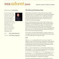 PHP Advent 2010 / The Ghost of Christmas Past