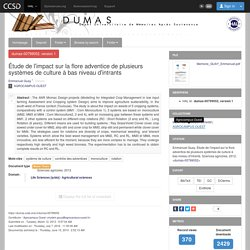 AGROCAMPUS OUEST 09/11/12 Mémoire en ligne : Étude de l'impact sur la flore adventice de plusieurs systèmes de culture à bas niveau d'intrants