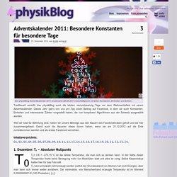 Adventskalender 2011: Besondere Konstanten für besondere Tage