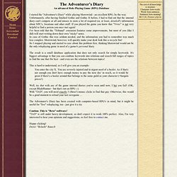 The Adventurer's Diary - A helping utility for Roleplaying (RPG) Gamers