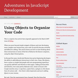 Using Objects to Organize Your Code
