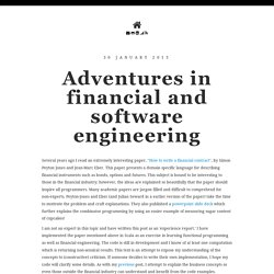 Adventures in financial and software engineering