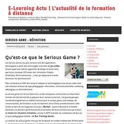 Serious Game, advergame : Définition