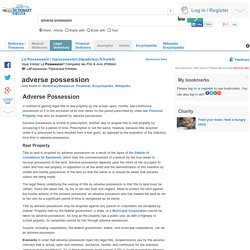 adverse possession legal definition of adverse possession