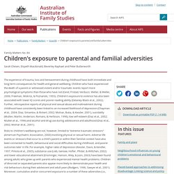 Family Matters - Issue 84 - Children's exposure to parental and familial adversities