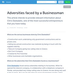 Adversities faced by a Businessman