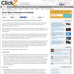Seven Ways to Advertise on Facebook
