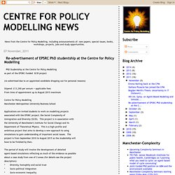 Re-advertisement of EPSRC PhD studentship at the Centre for Policy Modelling