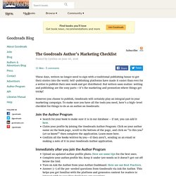 Authors & Advertisers Blog Post: The Goodreads Author's Marketing Checklist
