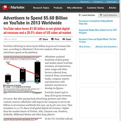 Advertisers to Spend $5.60 Billion on YouTube in 2013 Worldwide