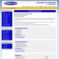 Hastings Advertising with 1066online - Directory Adverts for Hastings