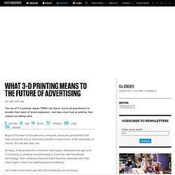 What 3-D Printing Means To The Future Of Advertising