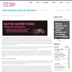 Native Advertising: Finding the right balance : Future Media Lab