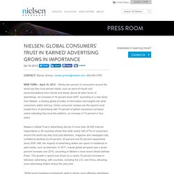 Global Consumers' Trust in 'Earned' Advertising Grows in Importance