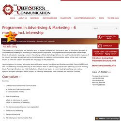Programme in Advertising & Marketing - 6 months, incl. internship