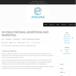 Six Ideas for Email Advertising and Marketing - Jfissures