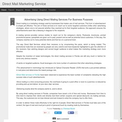 Direct Mail Marketing Service: Advertising Using Direct Mailing Services For Business Purposes