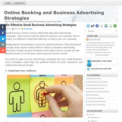 Six Effective Small Business Advertising Strategies ~ Business Advertising Strategies