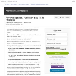 Advertising Sales / Publisher - B2B Trade Magazine