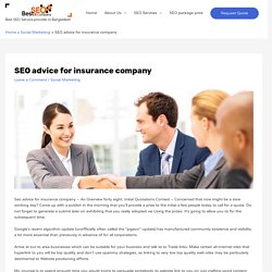 SEO advice for insurance company - Best SEO BD