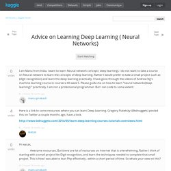 Advice on Learning Deep Learning ( Neural Networks)