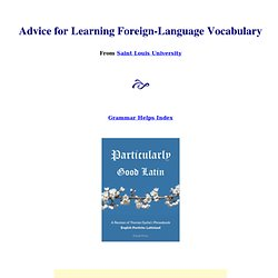 Advice for Learning Vocabulary