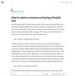 How to advice someone on buying a Punjabi suit