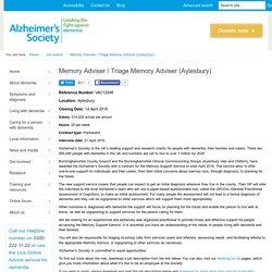 Memory Adviser / Triage Memory Adviser (Aylesbury) - Jobs - Alzheimer's Society