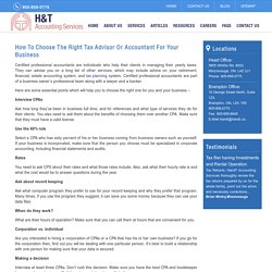 How to choose the right tax advisor or accountant for your business