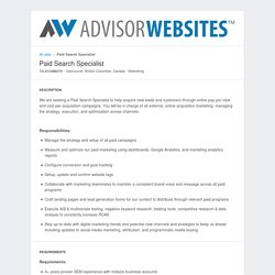 Advisor Websites - Jobs: Paid Search Specialist - Apply online