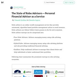 The State of Robo Advisors — Personal Financial Advisor as a Service