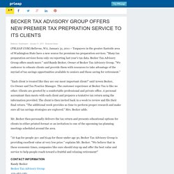 BECKER TAX ADVISORY GROUP OFFERS NEW PREMIER TAX PREPRATION SERVICE TO ITS CLIENTS