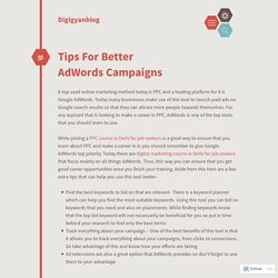 Tips For Better AdWords Campaigns