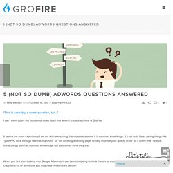 5 (Not So Dumb) Adwords Questions Answered