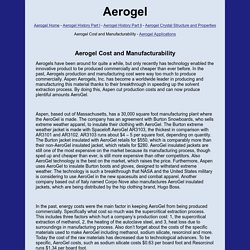 Aerogel Cost and Manufacturability