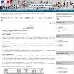 Aéroports de Paris : année record avec 92,7 millions de passagers accueillis en 2014