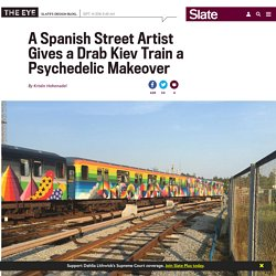 Okuda San Miguel brings his vibrant street art aesthetic to transform a drab Kiev train in the Ukrainian capital.