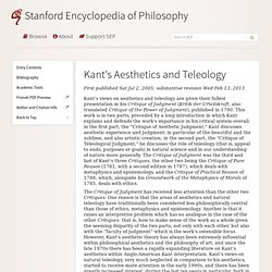 Kant's Aesthetics and Teleology