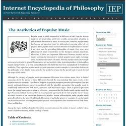 The Aesthetics of Popular Music